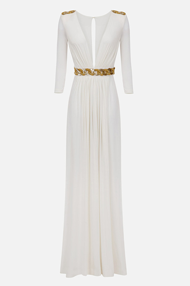 Long dress with embroidery at the waist
