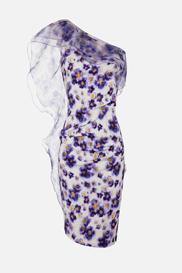 Dress in watercolour print fabric with flounces