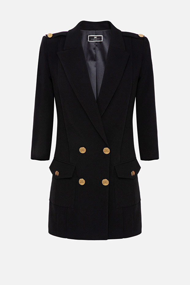 Coat dress with light gold buttons