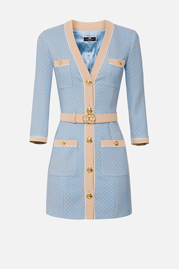 Coat dress with tie print and belt
