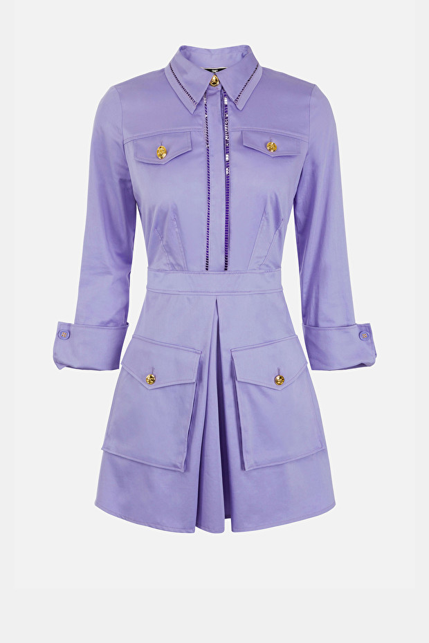 Satin dress with logoed buttons