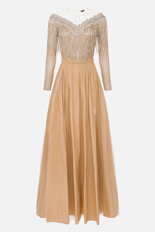 Red Carpet dress with jewel embroidery and Ottoman skirt