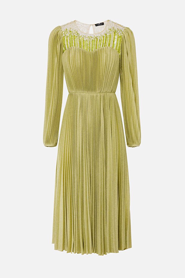 Pleated midi dress with embroideries