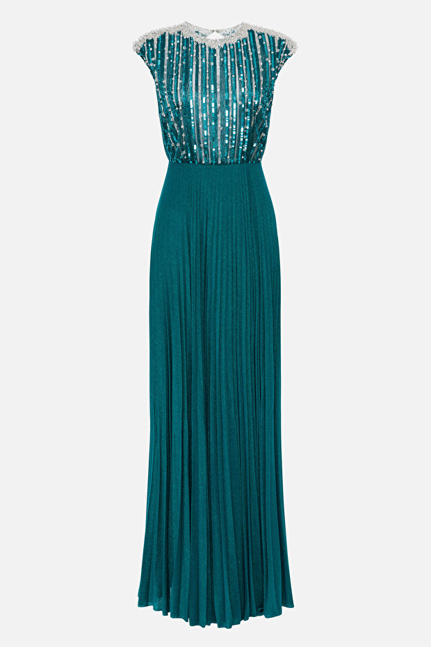 Evening dress with rhinestones and pleats