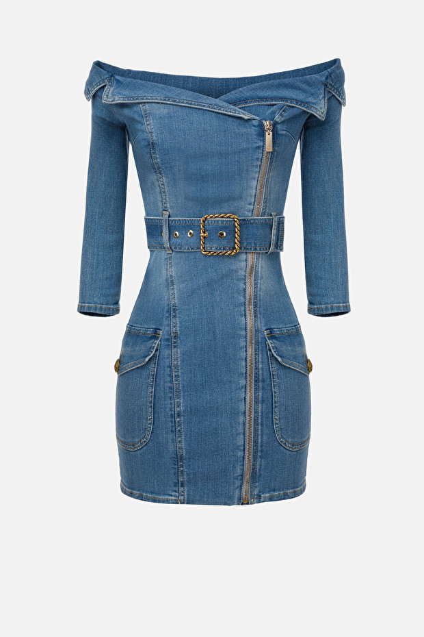 Denim boat neck dress