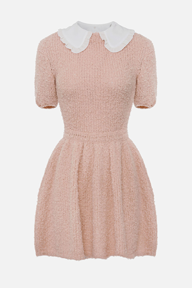 Doll dress with collar and ruffles
