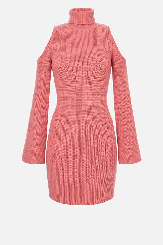 Knit pencil dress with cut-out neckline