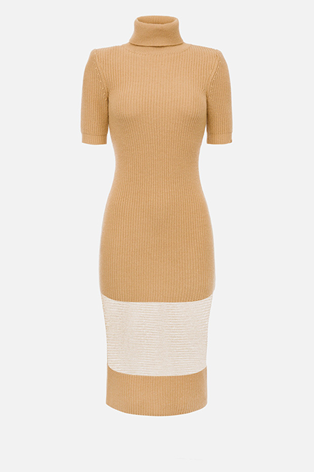 Knit midi dress with turtleneck