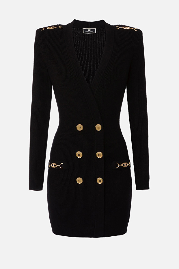 Knit coat dress with gold accessories