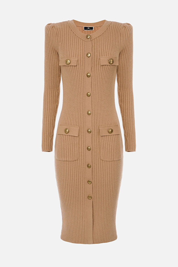Sheath dress with light gold accessories by Elisabetta Franchi