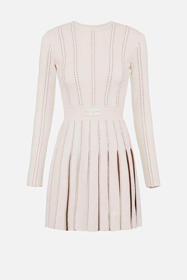 Mini dress with contrasting pleating