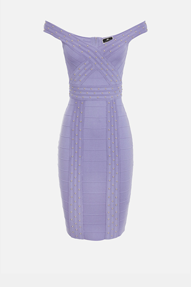 Knit sheath dress with crossed neckline and small studs