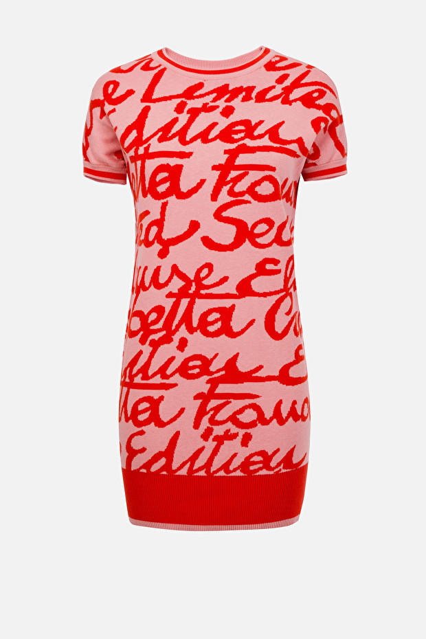 Short cotton dress with macro wording