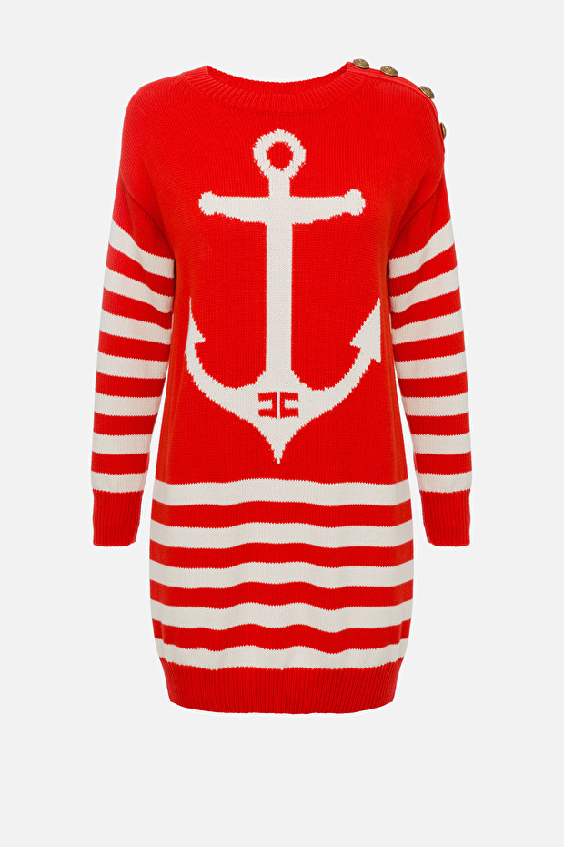 Knit dress with anchor embroidery