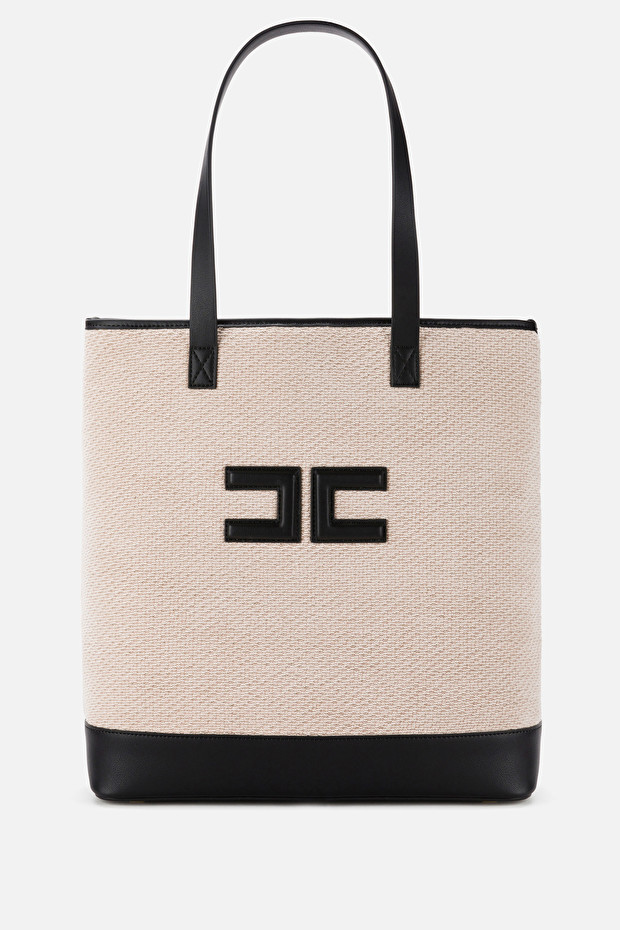 Shopper bag in chenille with logo