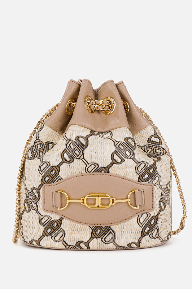 Jacquard bucket bag with horse bit print