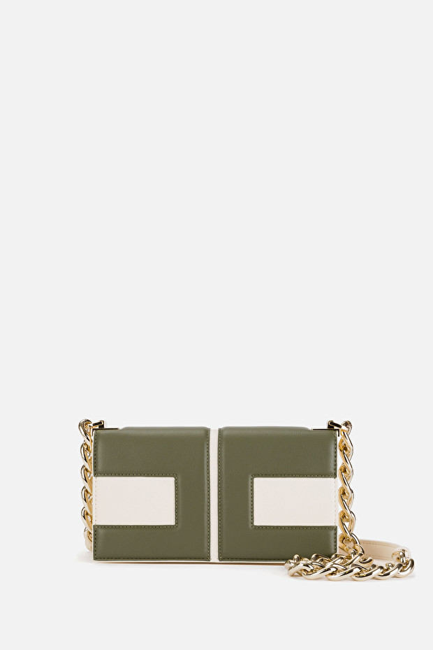 Clutch bag with golden chain and two-colour logo