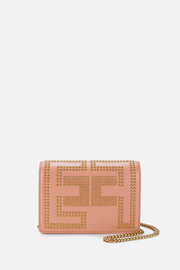 Shoulder clutch bag with studded logo