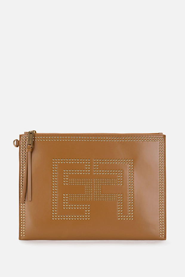 Faux leather envelope bag with golden logo