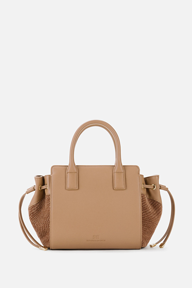 Mini shopper in faux nappa leather and canvas with shoulder strap