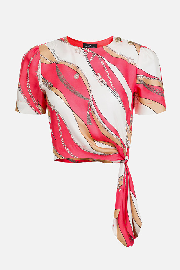 Silk blouse with foulard print