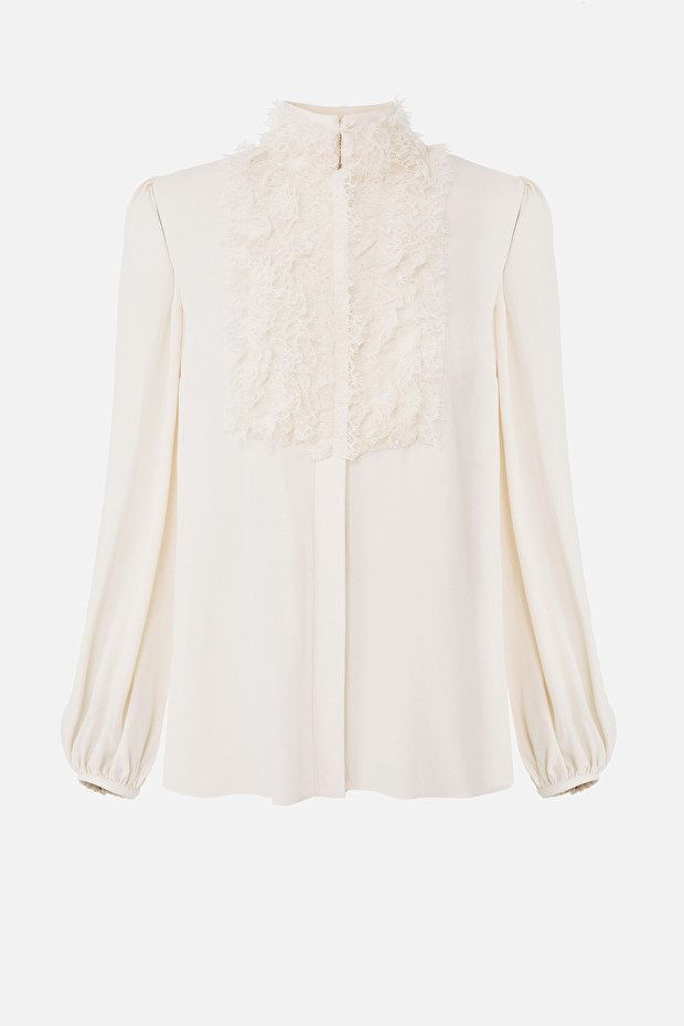 Georgette blouse with puffy sleeves