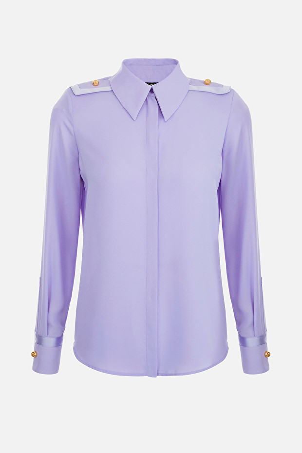 Duchess satin blouse with shoulder pads