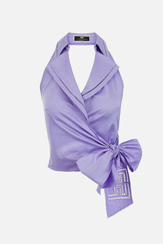 Cotton top with embroidered bow
