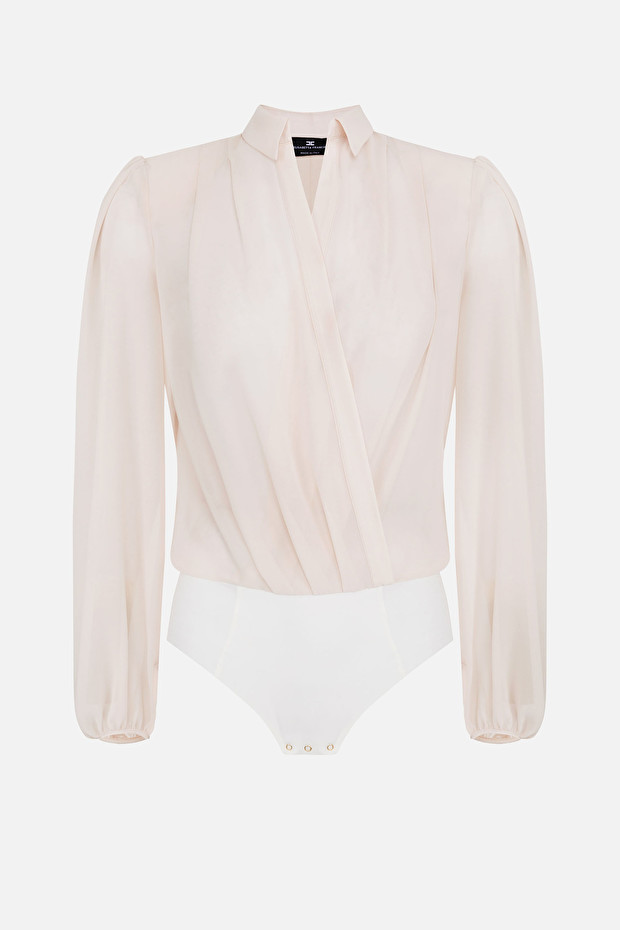 Bodysuit-style blouse with puffy sleeves
