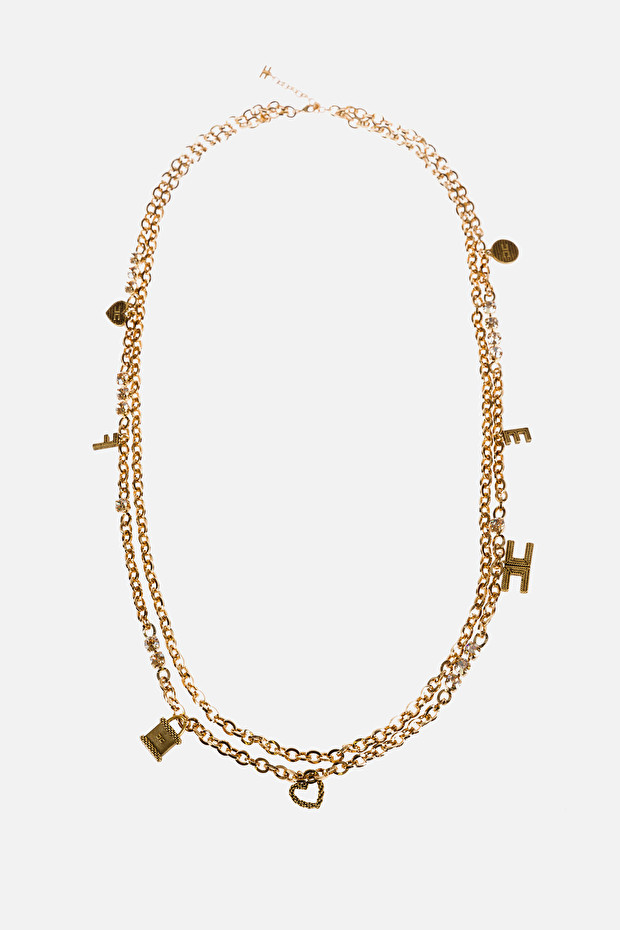 Golden necklace with charms
