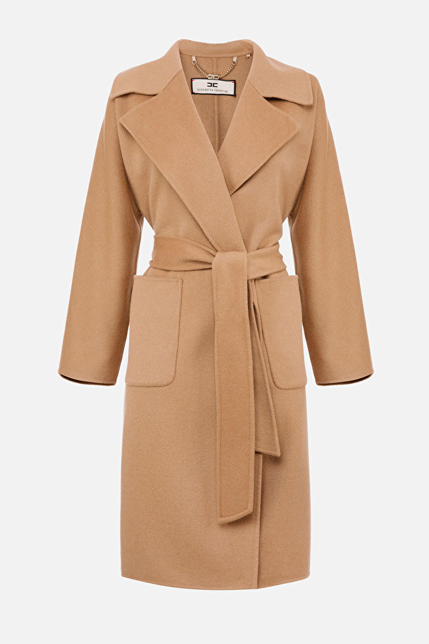 Dressing gown style coat with lapels