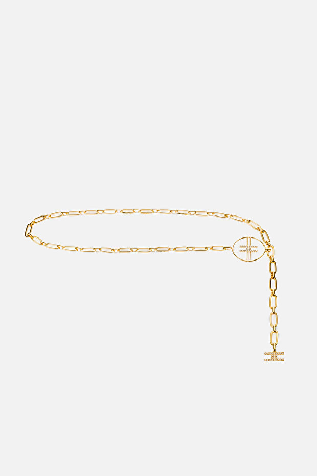 Light gold chain belt with logo charm