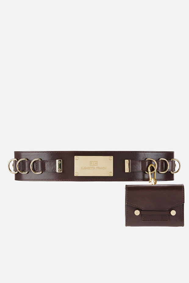 Leather belt with detachable purse