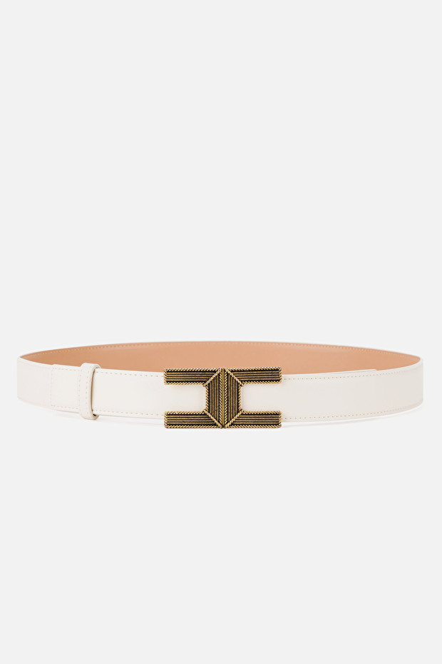 Belt with logo buckle in aged gold