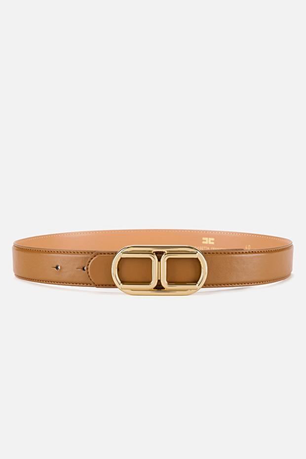 Belt with light gold logo buckle