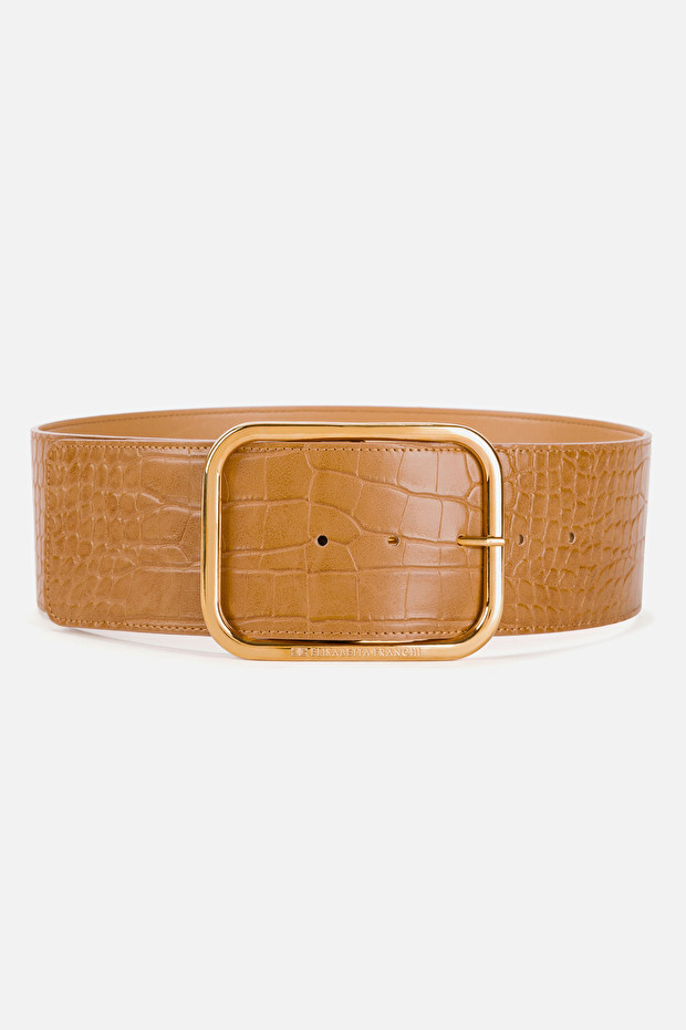 Big belt with buckle and crocodile effect