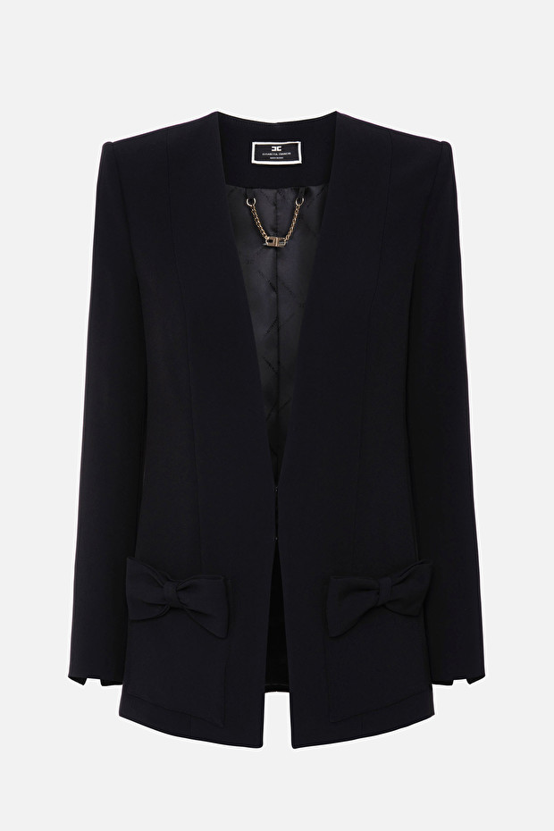 Smooth jacket with bows and wide neckline
