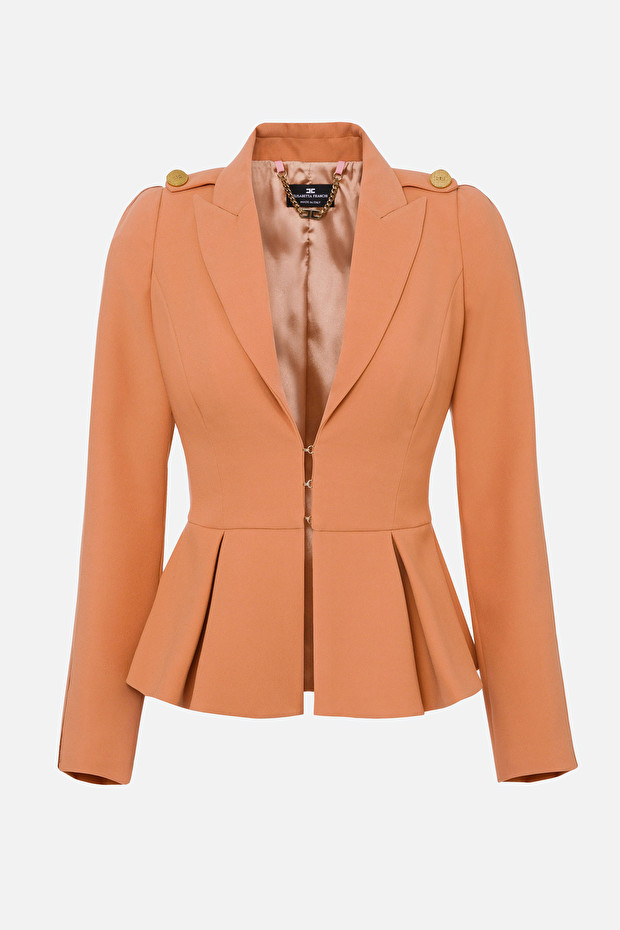Jacket with lapels and ruffles