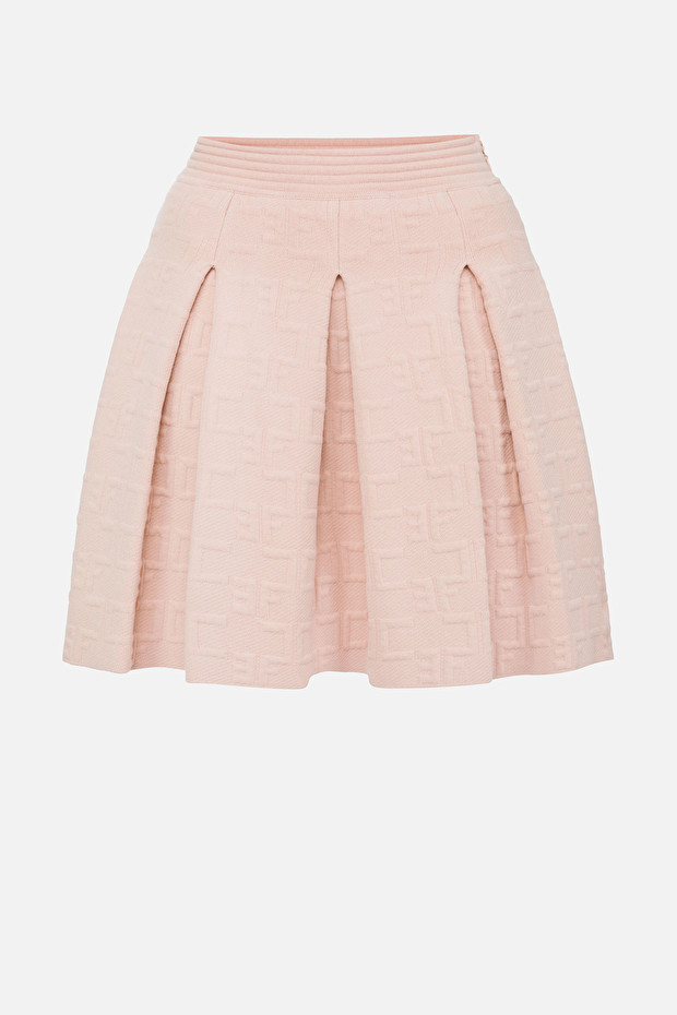 Circle skirt with embroidered logo