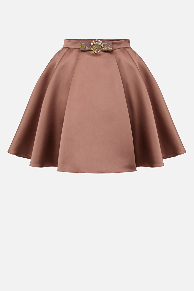 Duchess satin skirt with accessory