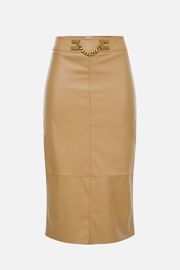 Faux leather midi skirt with gold detailing