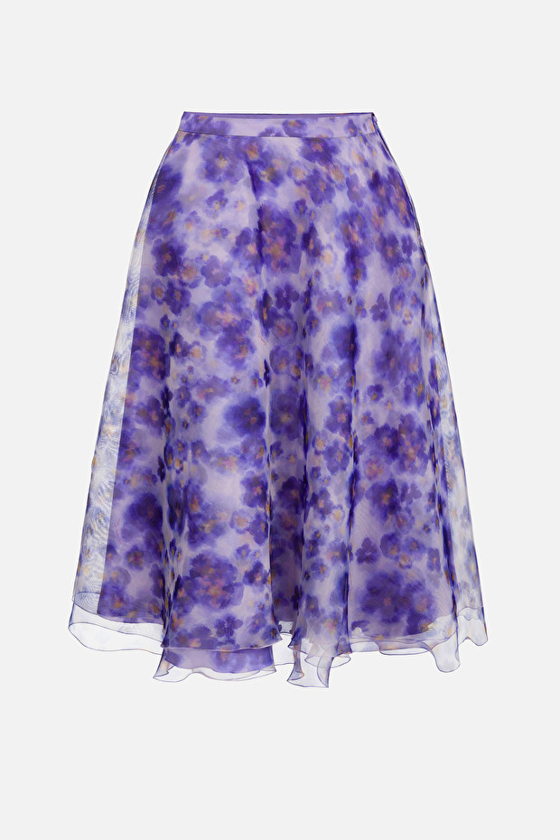 Skirt in organza voile fabric with floral print