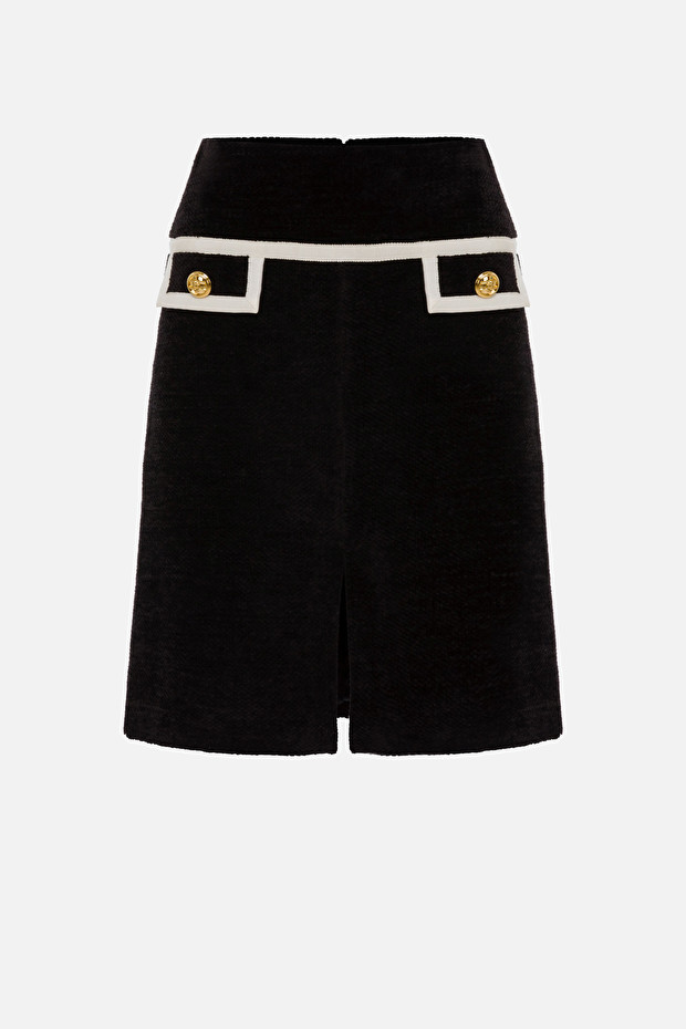 Tweed skirt with contrasting edges