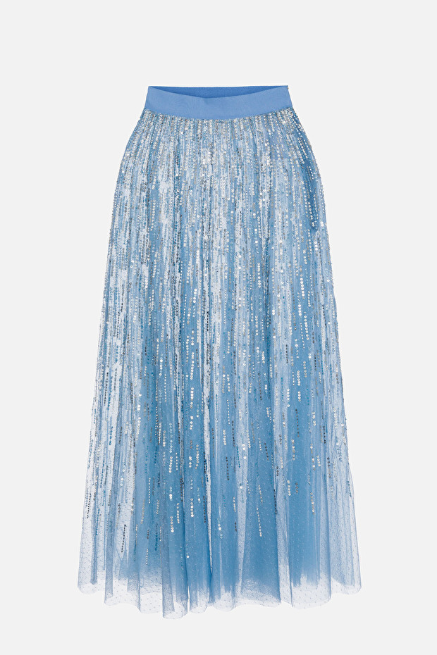 Elisabetta Franchi tulle skirt embroidered with sequins