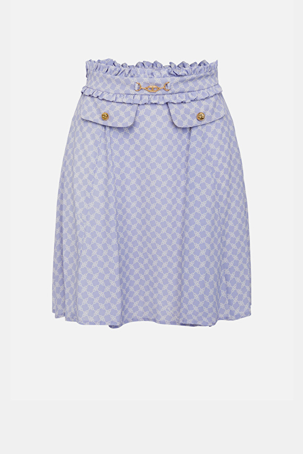 Mini skirt with horse bit print and light gold accessory