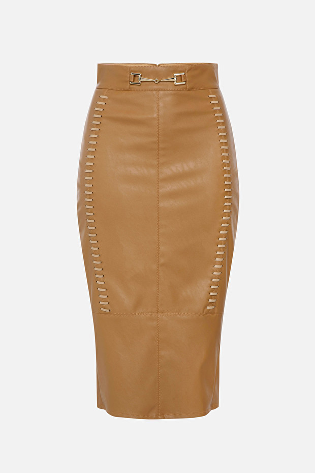 Leather effect calf-length skirt with horse bit