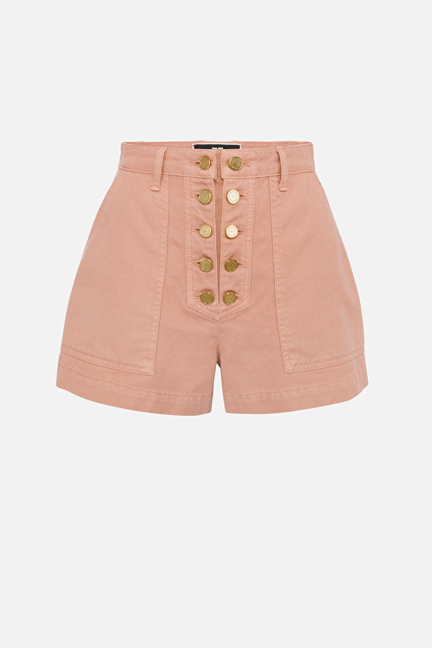 High-waist shorts with golden buttons