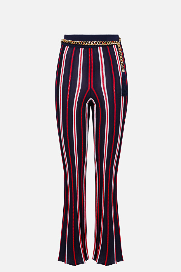 Tricot trousers with belt