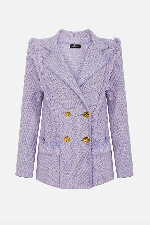 Knit jacket with light gold buttons