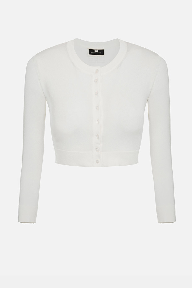 Long-sleeved crop top with buttons